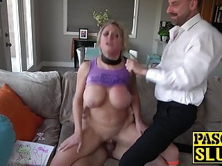 Sub old mom choked and ass destroyed by dominant UK males