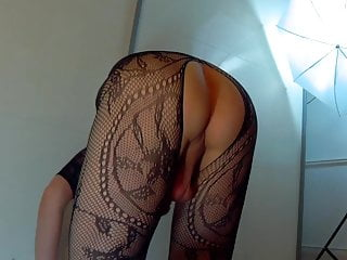 Boy presents his tight butt in hot lace...