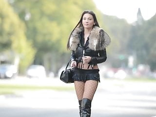 Hooker exhibitionist in microskirt amp boots...