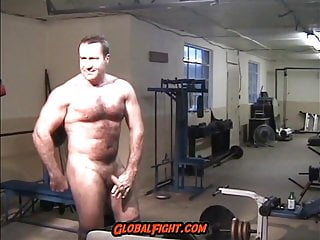 Muscleman Gym Naked Flexing Hairy Muscles