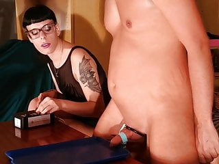 Slave boy's first electric milking by sexy dominatrix pt1