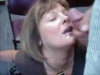 Mature secretary sucks dick and gets facial...