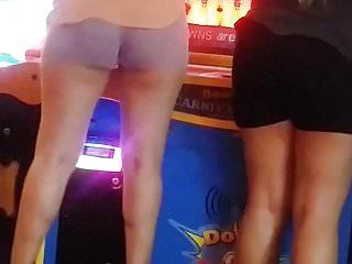 Candid latina in shorts making that ass shake. (Slo-mo)