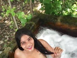 Teen Girl Bathing Outdoor