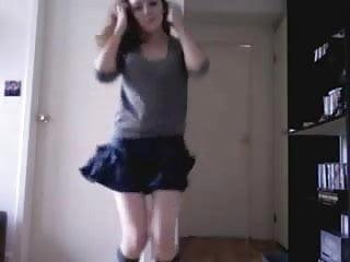 Amateur skinny brunette striptease...