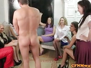Femdom party group in mean cock treatment...