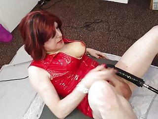 Sissy Lucy gets fucked by 10 inch BBC Dildo fucking machine