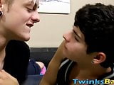 Skinny twink tops his lover and barebacks tight asshole