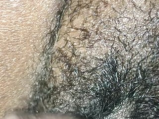 Fat hairy pussy fucked by big chocolate dick...