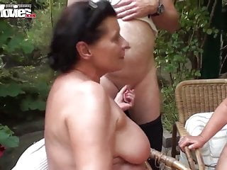 Fun movies amateur german foursome in the garden...