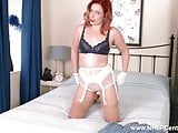 Retro babe strips off her sheer white panties for pussy play