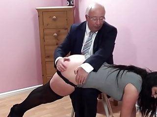 Over knee spanking School secretary's