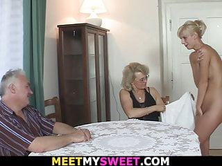 Teen blonde into 3some...