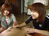 Subtitled Japanese CFNM femdom duo with handjob cumshot