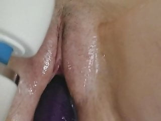 wife shaved pussy with dildo fuck and hitachi