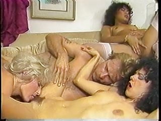 Curly hair brunette kim carson in 80s orgy...
