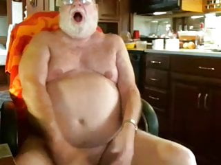 Older man play on webcam...