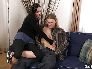 Muscle blond gets snared into gay blowjob and riding