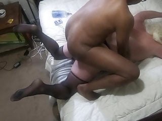 Big blonde sissy pussy takes hot bbc cock...