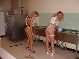 2 hot lesbian maid in kitchen - amateur compilation