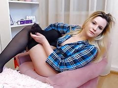 blond encasement lick her nylon feet