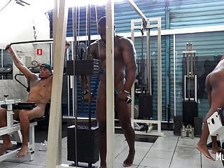 Naked latino guys in public gym...