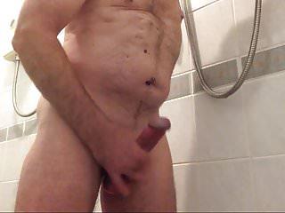 Slow shower wank