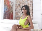 Busty petite ebony oiled up and doggystyled