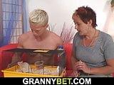 He fucks short-haired mature woman