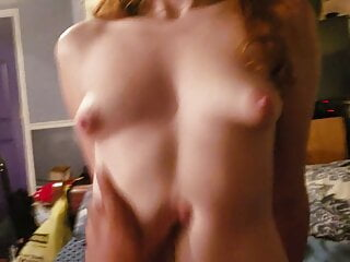 Furry red head bounces on dick and takes a pussy filling