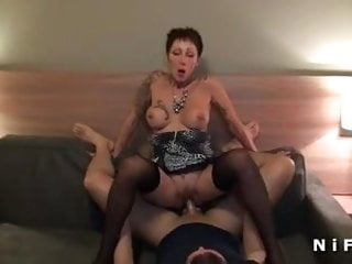 Busty french anal fucked by two guys...