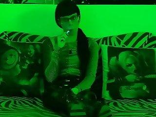 Sexy teen domina super goth smoking behind the scene pt1