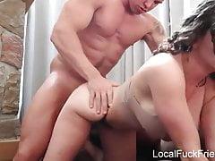 big tits amateur brunette having fun