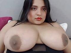 BBW Latina tits with large areolas