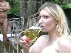 Super mega busty girl drinking a lot of piss in a glass