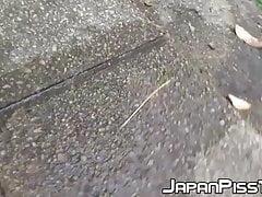 Japanese ladies filmed peeing in public by lucky voyeur