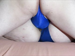 Hard Thong Bulge Grinds Hairy Pussy In One Piece Swimsuit