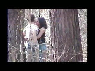Voyeur Teen Outdoor video: Lesbians Kissing in Boiling Springs