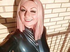 latex rubber selfie video with MILF fetish model Arya Grander