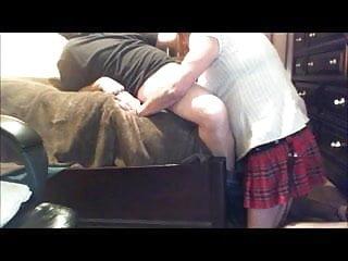 schoolgirl Lisa sucks cock