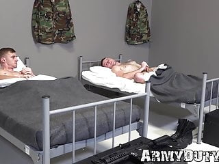 Inked soldier suck cock being missionary...