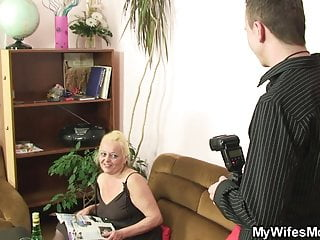 Frail blonde granny photosession including wood riding