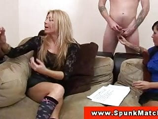 CFNM MILFs surrounded by wanking dudes