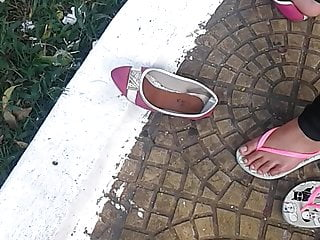 Hidden Camera Hd Videos vid: candid feet foot on the sneaker and then the slipper