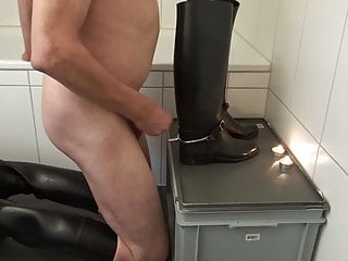 Rubber Riding Boots with Riding Spurs in Urethra and Wax 2.