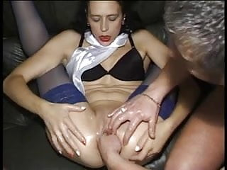 Skinny bitch gets wet and fisted