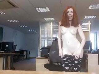 Hot british redhead strip in the office...