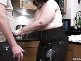 Bbw cheating cock riding and sucking on kitchen