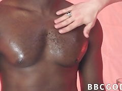 Twink Barebacked Tough After Drooling On Hefty Ebony Cock