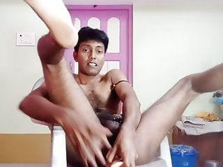 Indian Boy anal playing with big dildo